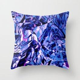 Fluid Painting 3 (Blue Version) Throw Pillow
