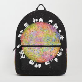 Flower Planet, watercolor painting house Backpack