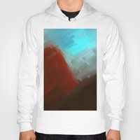 free shipping Hoodies featuring Mountains in blue by Ordiraptus