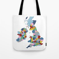uk Tote Bags featuring UK by Project M