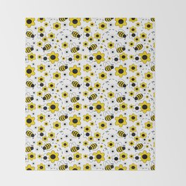 Honey Bumble Bee Yellow Floral Pattern Throw Blanket