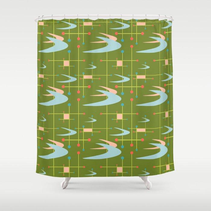 Mid Century Modern Boomerangs On Lime Green Shower Curtain