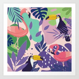 Tropical Jungle With Flamingos And Toucans Memphis Style Art Print