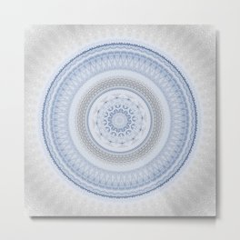 Elegant Blue Silver China Inspired Mandala Metal Print