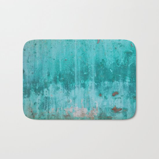Weathered turquoise concrete wall texture Bath Mat