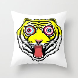 Psychedelic Tiger Eyes by Hello Banana Throw Pillow