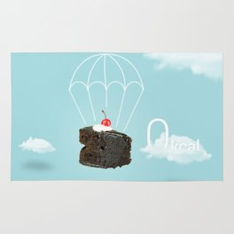 Isolated Chocolate cherry cake with parachute on blue sky background Rug