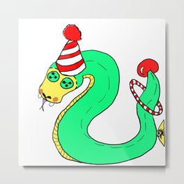 Stuffies Circus Snake Metal Print