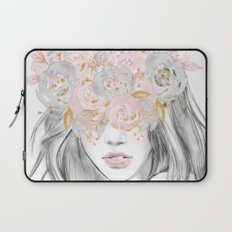 She Wore Flowers in Her Hair Rose Gold Laptop Sleeve