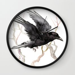 Flying Raven Art, raven crow tribal design Wall Clock