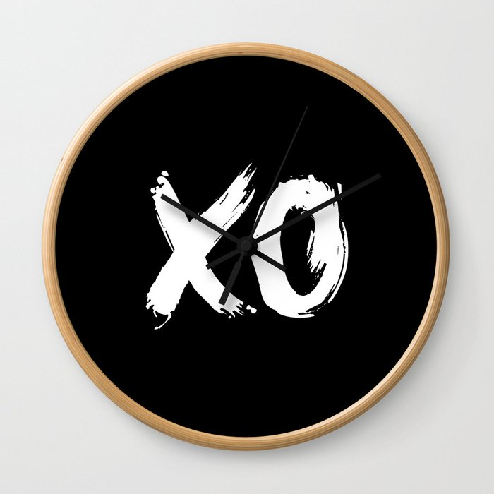 XO Hugs and Kisses white and black gift for her girlfriend xoxo bedroom art and home room wall decor Wall Clock