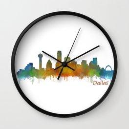Dallas Texas City Skyline watercolor v02 Wall Clock