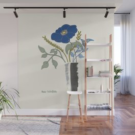 Blue Poppy in Grey Vases Wall Mural