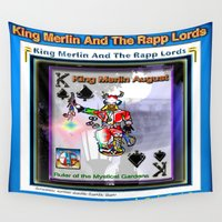 merlin Wall Tapestries featuring KING MERLIN by KEVIN CURTIS BARR'S ART OF FAMOUS FACES