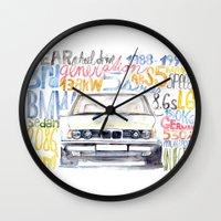bmw Wall Clocks featuring BMW e36 by dareba