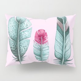 Watercolor feathers (pink) Pillow Sham