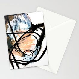 It comes and goes - a black and white abstract mixed media piece with pink details Stationery Cards