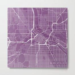 Minneapolis Map, USA - Purple Metal Print