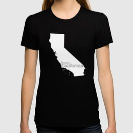 Home is California - state outline in gray T-shirt