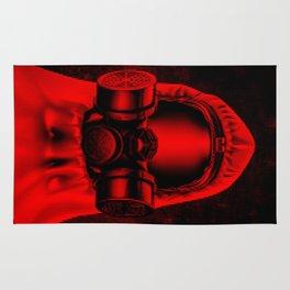 Toxic environment RED / Halftone hazmat dude Rug