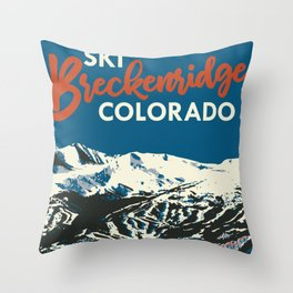 Breckenridge Vintage Ski Poster Throw Pillow