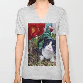 Orazio, the cat of camellias Unisex V-Neck