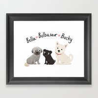 Custom Dog Art- Bella, Bulb, Bucky Framed Art Print