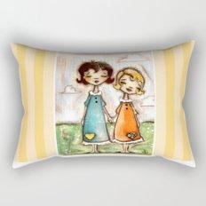 A Childhood Shared - Sister Art Rectangular Pillow