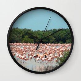Flamingo Landing Wall Clock