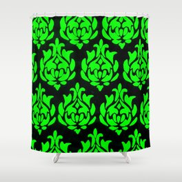 Green on Black Damask Shower Curtain