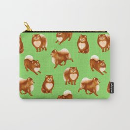 Pomeranian Pattern (Green Background) Carry-All Pouch