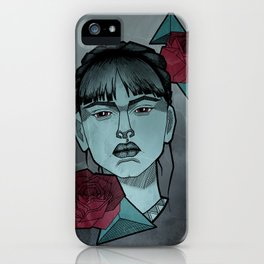Girl with roses iPhone Case