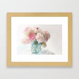 pink roses in blue jar Framed Art Print