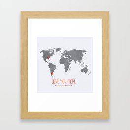 World Map with hearts Framed Art Print