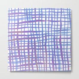 Watercolor doodle gingham - ultra violet Metal Print