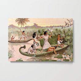 "Classical Masterpiece ""Egyptian Fowlers in Boat on the Nile"" by Herbert Herget Metal Print"