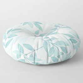 turquoise leaves Floor Pillow