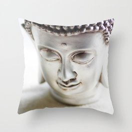 #Silver #big #Buddha #head and #wellness #stones Throw Pillow