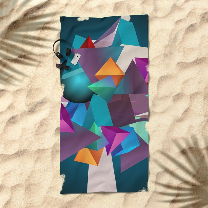 3D Geometric Beach Towel