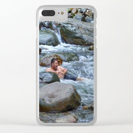 Brothers in harmony in the powerful Mameyes River - El Yunque rainforest PR Clear iPhone Case
