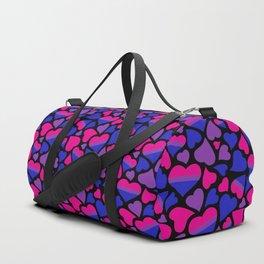 Bi Pride Hearts Duffle Bag