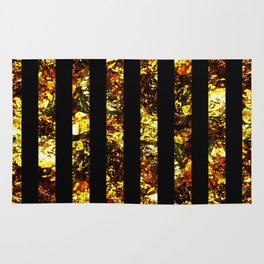 Golden Stripes - Abstract, black and gold, metallic, textured, stripy pattern Rug