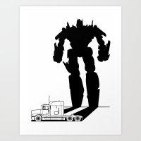 optimus prime Art Prints featuring Optimus Prime by offbeatzombie