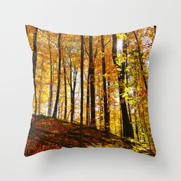 Sunny Autumn Hillside Throw Pillow