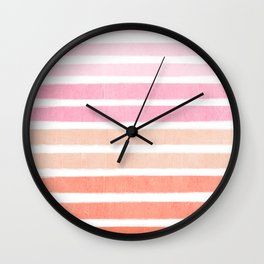 Camil - ombre gradient brushstrokes abstract painting minimalist seaside coastal beach cottage decor Wall Clock