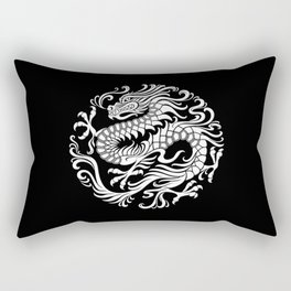 Traditional White and Black Chinese Dragon Circle Rectangular Pillow