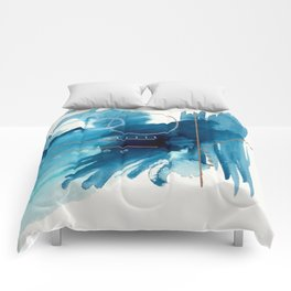 Beneath the Waves Series 2 - a blue and gold abstract mixed media set Comforters