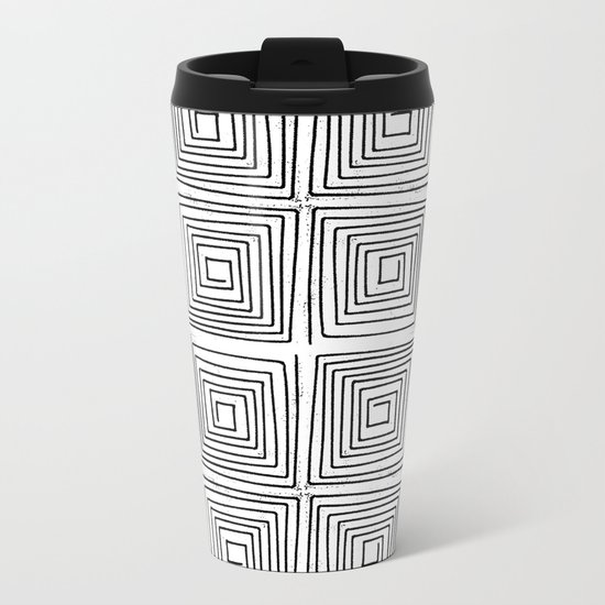 Minimal linocut printmaking geometric square maze pattern scandinavian minimalist Metal Travel Mug
