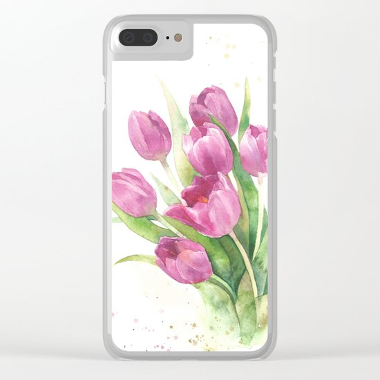 Watercolor bouquet of pink tulips Clear iPhone Case