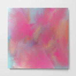 Creative pink teal bold colors watercolor brushstrokes Metal Print